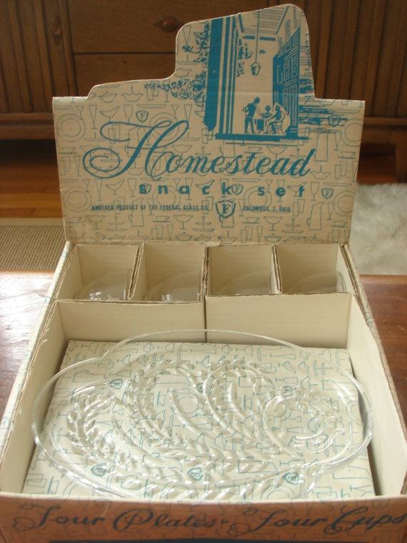Homestead Snack Set Federal Glass, $12