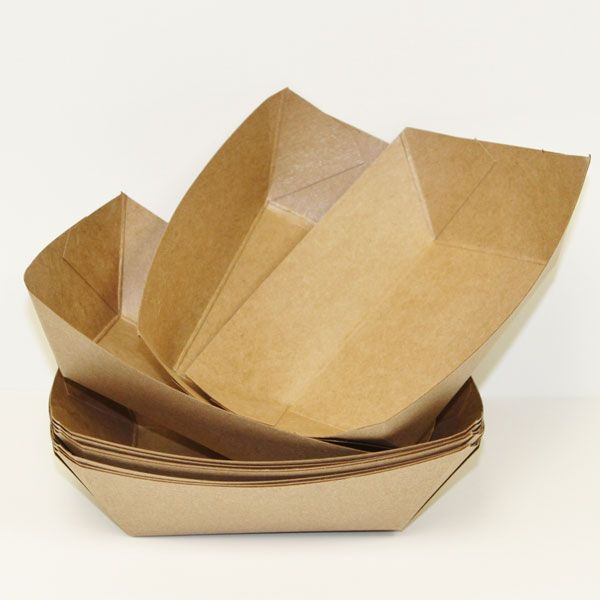 Baby-Q - Brown Kraft Food Tray at creativepartyshop.com