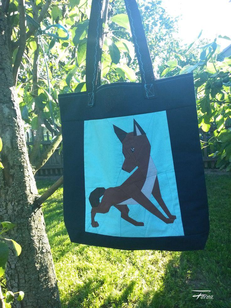 Shopping bag, fox pattern, patchwork bag, black dog tote, handbag, Shoulder bag by FereaDesign on Etsy