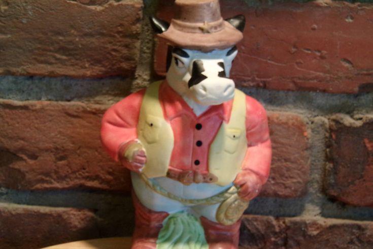 Rare Cow Cowboy Piggy Bank, Cowboy piggy bank, Western piggy bank, Farmhouse décor, cow coin bank by Morethebuckles on Etsy