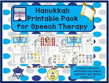 Printable Pack Includes~ Hanukkah Memory Game~ 2 Roll & Cover Boards~ Hanukkah Board Game~ Dreidel Articulation Worksheet~ Menorah Older Articulation Worksheet~ Hanukkah Preposition Worksheet~ Synonym Worksheet~ Antonym Worksheet~ Homonym Worksheet~ Analogy Worksheet~ Pronoun Worksheet~ Noun-Verb Agreement Worksheet~ Candle EET Defining Worksheet~ Hanukkah WhQuestions (2 Differentiated levels)~ High Level Hanukkah Semantic Skill Sheet~ High Level Hanukkah Vocabulary Fill In~ High Level Ha...