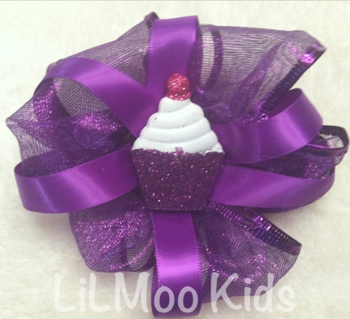 Cupcake sparkle! Over the top hair bow! $10 www.lilmookids.com