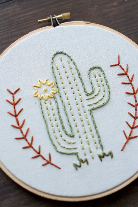 Hoop Art Ready to Ship Cactus Man by MountainsofThread on Etsy