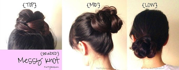 PrettyGossip's Braided Messy Top Knot Tutorial.. Not sure I understand it but I like it!