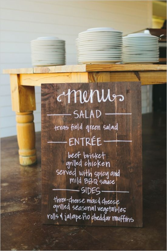 BP//wedding menu on wooden sign #weddingmenu #rusticwedding #weddingchicks http://www.weddingchicks.com/2014/01/07/lace-and-burlap-wedding/