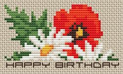Birthday Flowers pattern Birthday Flowers (daisy and poppy) cross stitch pattern with the text Happy Birthday. • Published 19 days ago • 51×29 stitches • 9 colors