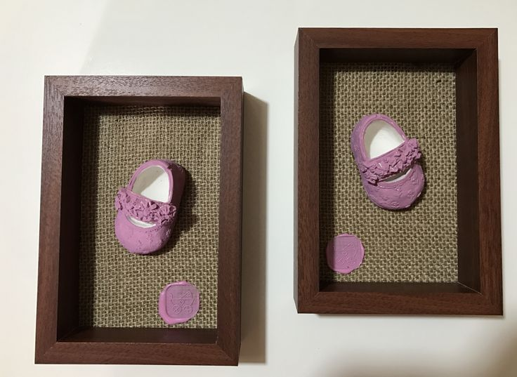 Handmade polymer clay baby girl shoe in wooden frame