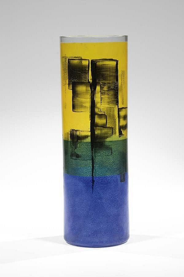 Bohumil Cabla, the vase, 1957, colorless glass, painted with transparent enamel colors and black. H: 31,3 cm, Czechoslovakia