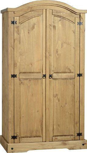 Corona 2 Door Wardrobe With Shelf & Hanging Space Mexican Solid Pine