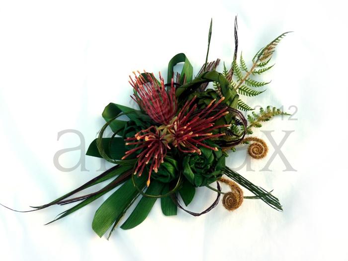 Artiflax - weddings - flax flower fascinators.  Very New Zealand with fern, koru and pohutukawa flowers. Worldwide shipping