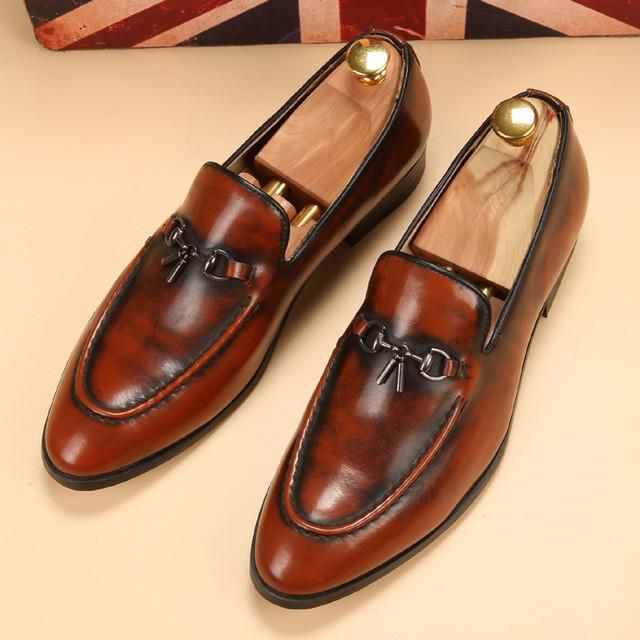 gold spike men loafers