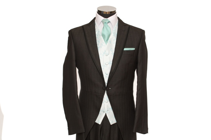 Mint Vine (Tiffany Blue) Waistcoat with matching tie or cravat. The suit is our Tailored Dark Grey Silk Morning suit.