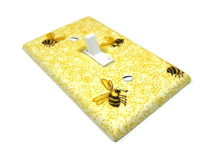 MADE WHEN ORDERED Yellow Honeybee Light Switch Plate Cover Honey Bee Country Kitchen Primitive Rustic