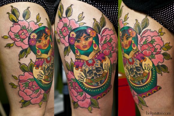 Mexican Flower Tattoo Old school neo traditional tattoo girl doll día ...