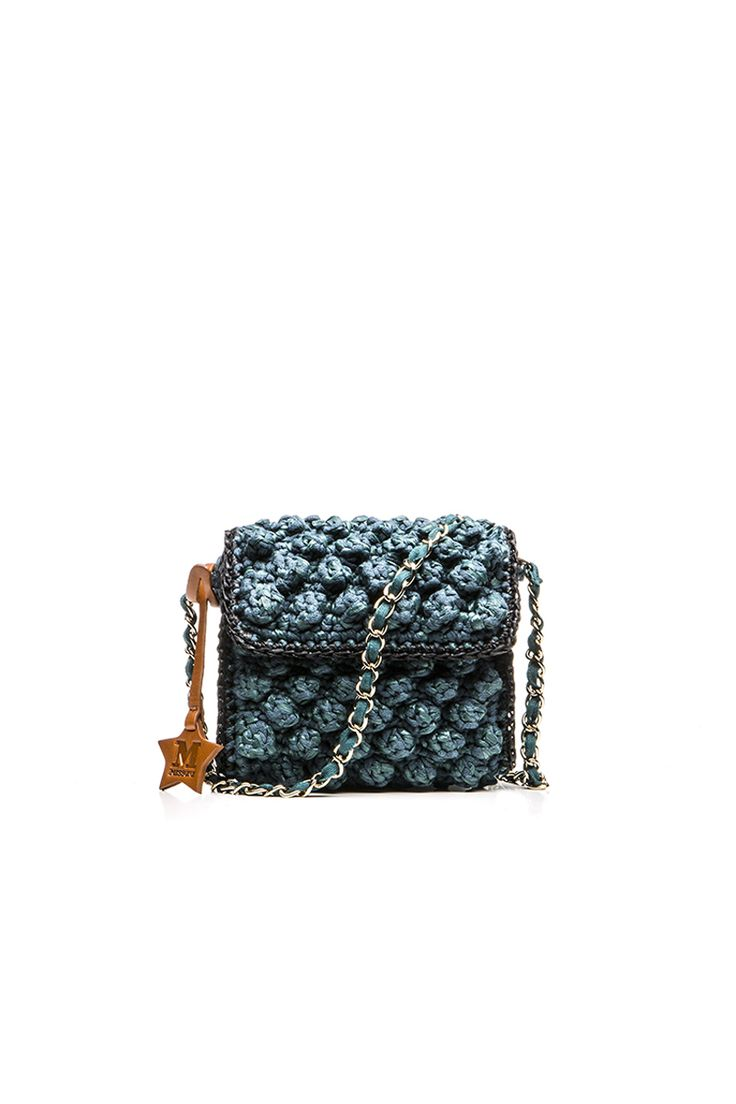 MINI BAG IN TEAL BLUE RAFFIA
