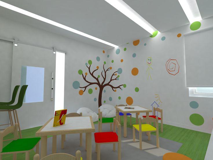 Imagem em 3D - área de leitura e diversão