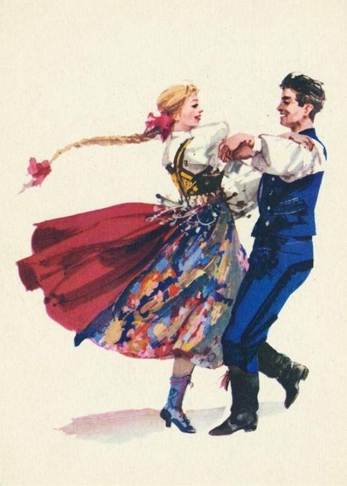 Folk costume from Cieszyn, Poland (strój wałaski). Vintage postcard: drawing by Maria Orłowska-Gabryś.