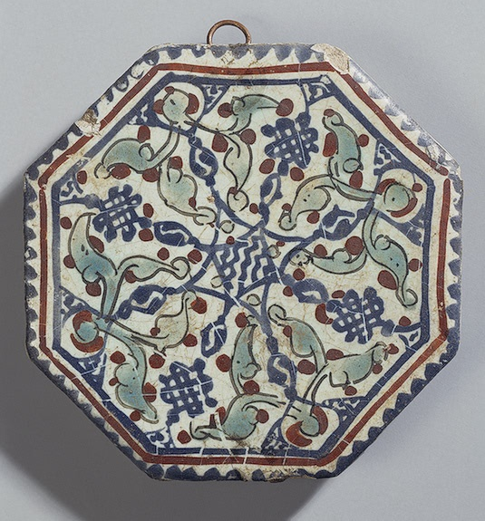 tile Faience; painted with enamels 13s iran