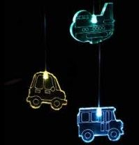 With fun acrylic shapes, these LED lights softly cycle through a spectrum of colours providing a soothing and gently stimulating light for the little ones. These battery operated lights can be hung anywhere. Transport Mobile LED - Full colour cycle Code: MOTR RRP $39.95