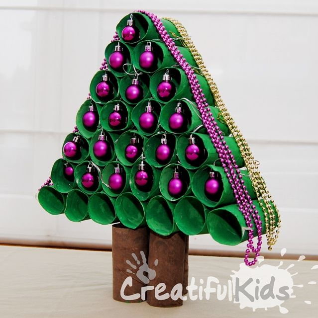 Christmas Tree made out of Cardboard Rolls from Creatiful  ~ 043503_Christmas Decoration Ideas Using Toilet Paper Rolls