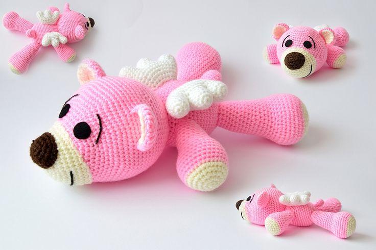 Agnieszka Mężyk, Szydełkowe Stwory, leżący miś www.polandhandmade.pl #polandhandmade #crochet #amigurumi