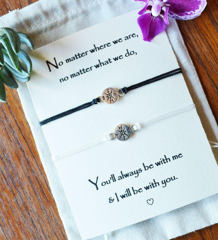 Long distance relationship matching bracelets, moving away gift, deployment gift, going away gift, couples bracelets, compass bracelet set