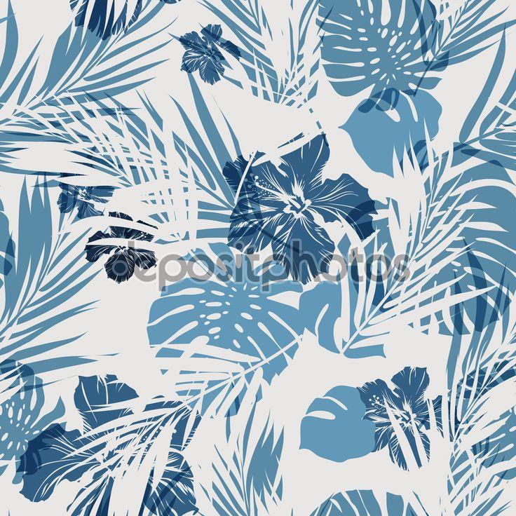 тропические бесшовный монохромный синий Индиго камуфляж фон с листьями и цветами - Векторная картинка: 75777179