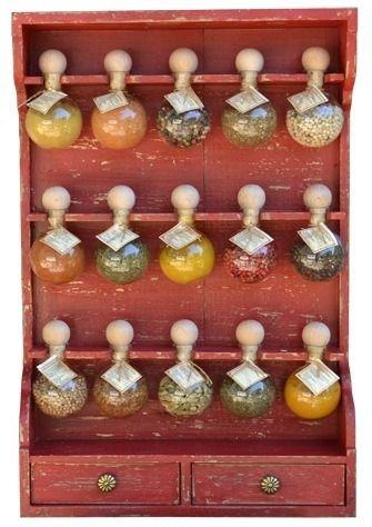 Meuble à épices en bois 15 bulles : Patine rouge : Meubles et rangements par bulles-d-epices
