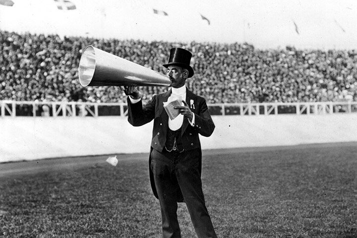 Announcer at the 1908 London Olympics. Did they borrow him from the circus?