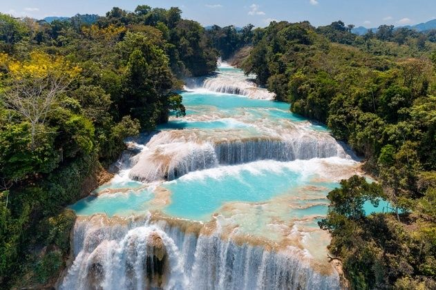 The Agua Azul cascades, State of Chiapas, Mexico - photo by Yann Arthus-Bertrand