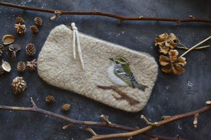 Felted pencil case with chiffchaff