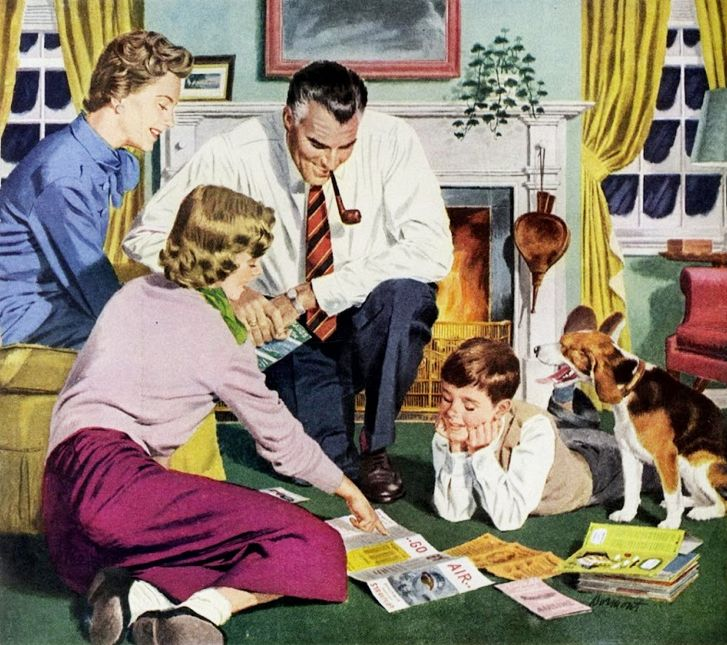 Planning the Family Winter Getaway ~ ca. 1950s