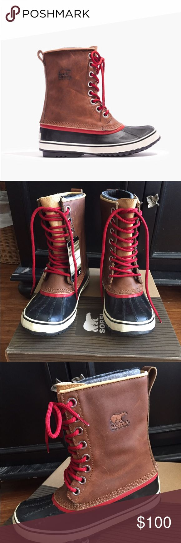 Madewell Sorel snow boots! ❄️ Brand new Sorel boots! Bought these at Madewell and never worn! Red shoe lace details that makes the boots perfect for the holidays! Tags still attached! Great gift  for the X-mas! Price is firm. Madewell Shoes Winter & Rain Boots