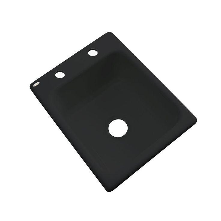 Crisfield Drop-In Acrylic 17 in. 2-Hole Single Bowl Entertainment Sink in Black