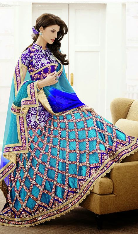 Sky Blue Shade Satin Jacquard Lehenga Sari Price: Usa Dollar $444, British UK Pound £261, Euro326, Canada CA$475 , Indian Rs23976.