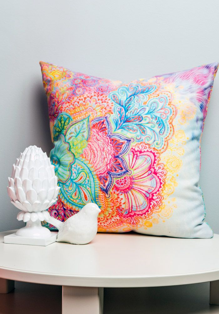 Bright, bright, bright is always the answer on a throw pillow!