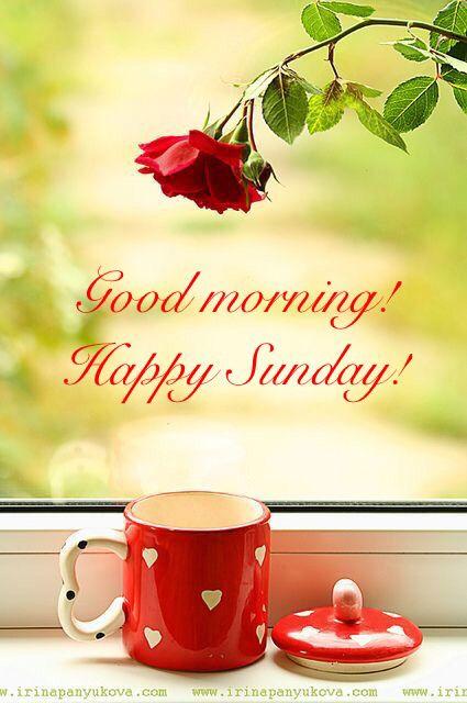 * Good morning! Happy Sunday! Coffee. Hearts. Rose.