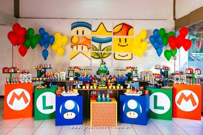 Super Mario Brothers Birthday Party via Kara's Party Ideas | The Amazing Display