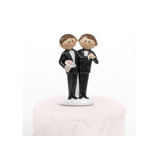 Taarttopper! Trouwfiguurtje 2 mannen 11 cm. Dit trouwfiguurtje met 2 bruidegoms voor op de bruidstaart is gemaakt van polystone en heeft een hoogte van ca. 11 cm.