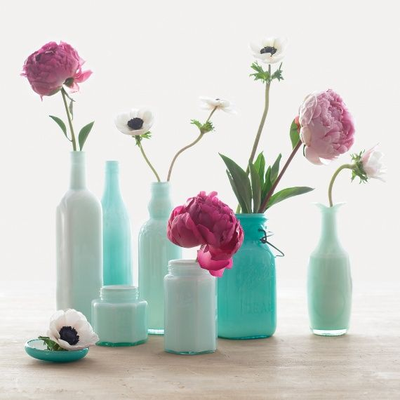 Floral design inspiration: Single buds in glass milk jugs you can find at thrift stores or flea markets.Ideas, Glasses, Painting Bottle, Martha Stewart, Old Bottle, Diy, Flower, Painting Vases, Painting Jars