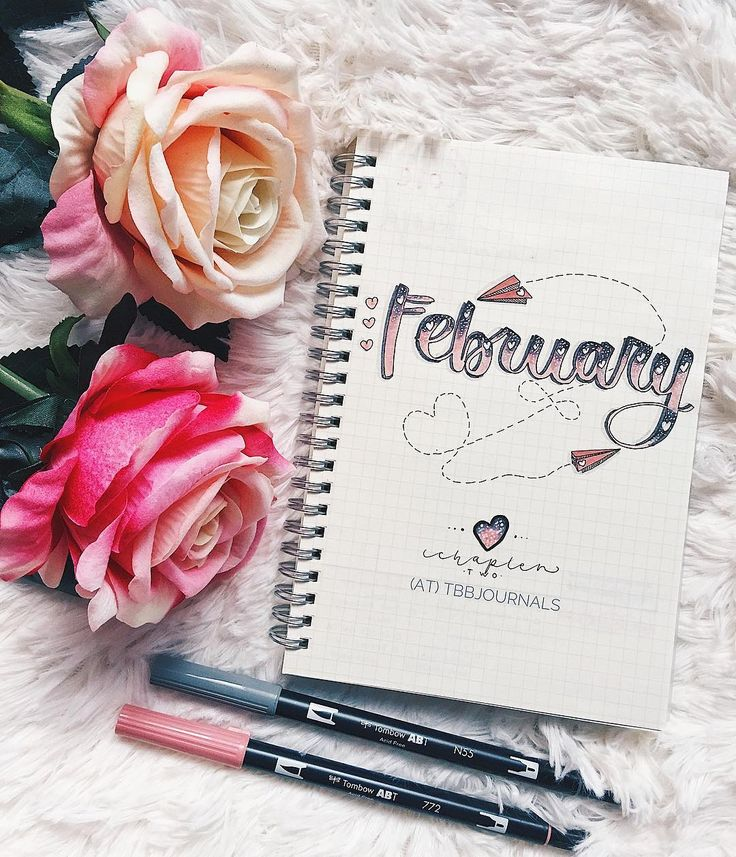 Bullet journal monthly cover page, February cover page, paper plane drawing, heart drawing, Valentine's Day bullet journal drawing. | @tbbjournals