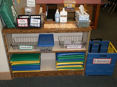 """""""As soon as the kids walk in, this is what they see - it's our main """"drop zone"""". They stop and turn their homework in, submit any notes from home, choose their lunch for the day, and turn in their library books. It's a one-stop-shop. It is so helpful that it's right inside the door, because the kids don't have the chance to miss it!"""""""