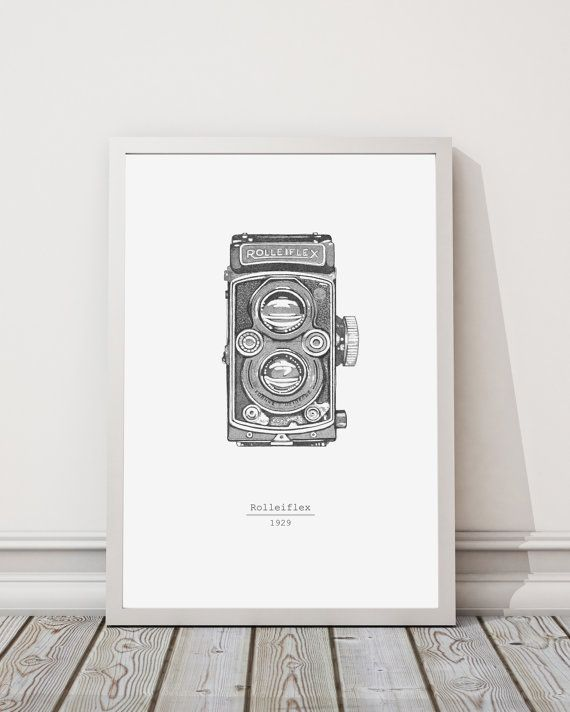Macchina fotografica Rolleiflex illustrazione di INKSdecor su Etsy