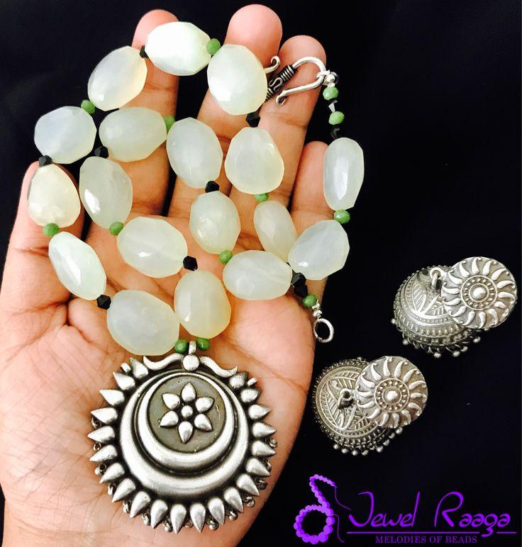Quartz nuggets and German silver pendant #handmadejewellery #fashion #quartznecklace #Jewelraaga #handcraftedjewelry #chokerdesign
