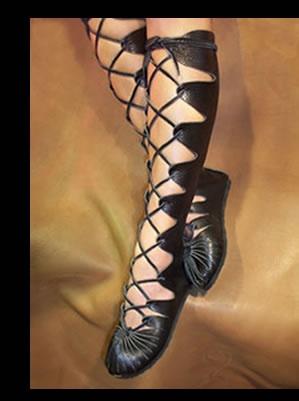 medieval black lace up moccasins