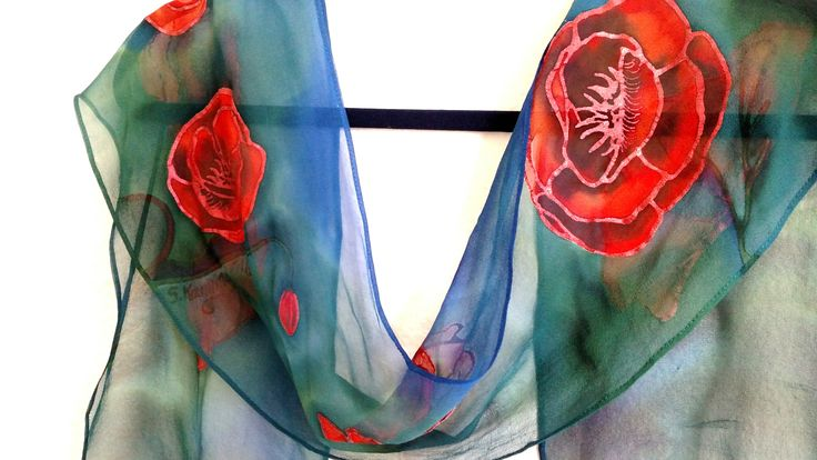 A petite chiffon scarf, scarlet poppies, 8x54 inches. Raebird Creations artwork available at: http://raebird-silkpainting-flute.weebly.com/