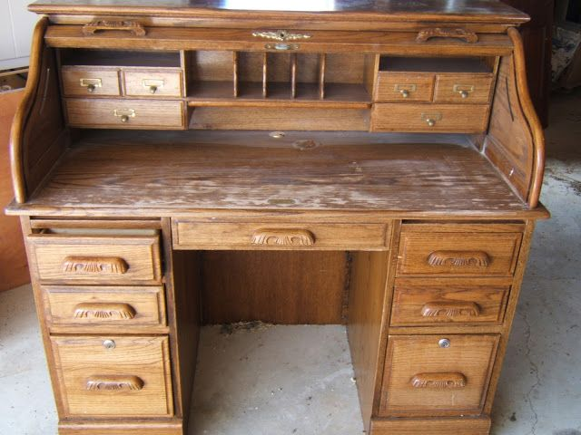 The Olde Farmhouse On Windmill Hill Desk Makeover How To Update An Oak Rolltop
