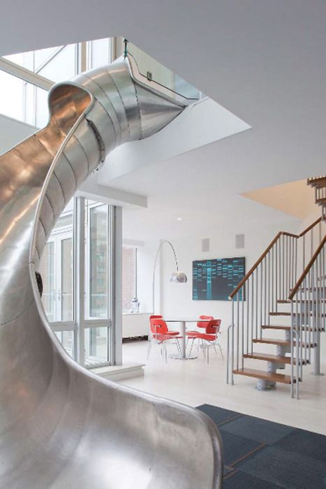 I want a slide in my houseIdeas, Dreams Home, Stairs, Living Room, Indoor Slides, Future House, Dreams House, Kids, Indoor Sliding