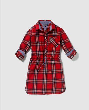 Vestido camisero de niña Tommy Hilfiger de cuadros en rojo