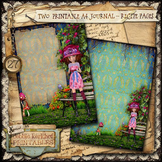 Digitally collaged Journal/Diary/Recipe printable A4 pages - No.27